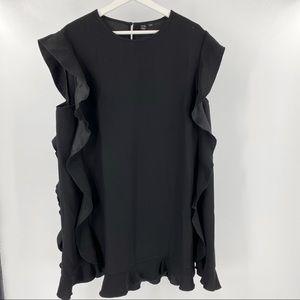 Icone By Simons black ruffled short sleeve blouse